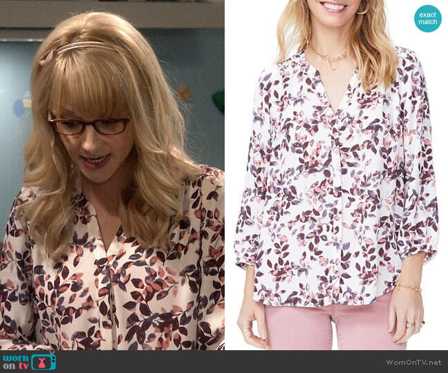 NYDJ Printed Pleat-Back Blouse worn by Bernadette Rostenkowski (Melissa Rauch) on The Big Bang Theory
