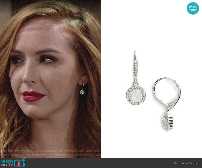 Nadri Cubic Zirconia Drop Earrings  worn by Camryn Grimes on The Young & the Restless