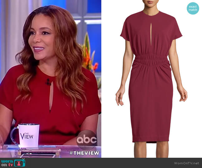Crepe Jersey Cinched-Waist Dress by Narciso Rodriguez worn by Sunny Hostin (Sunny Hostin) on The View