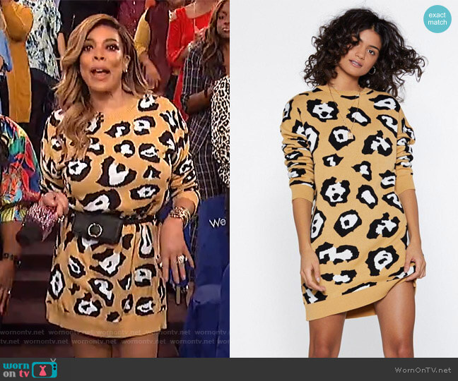 Take Meow-t Leopard Sweater Dress by Nasty Gal worn by Wendy Williams  on The Wendy Williams Show
