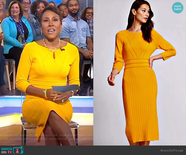 Stitched Sweater Dress - Gabrielle Union Collection by New York & Company worn by Robin Roberts on Good Morning America