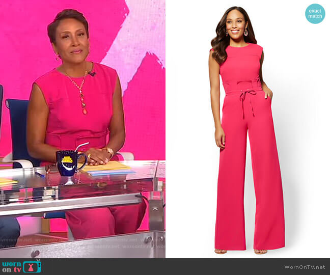 Paperbag-Waist Jumpsuit by New York & Company worn by Robin Roberts  on Good Morning America