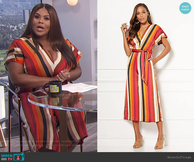 Erika Stripe Jumpsuit - Eva Mendes Collection by New York & Company worn by Nina Parker  on E! News