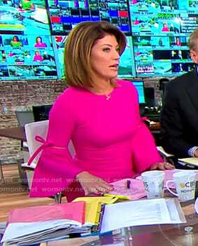 Norah's pink bell sleeve dress on CBS This Morning