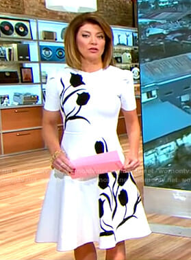 Norah's white tulip print dress on CBS This Morning