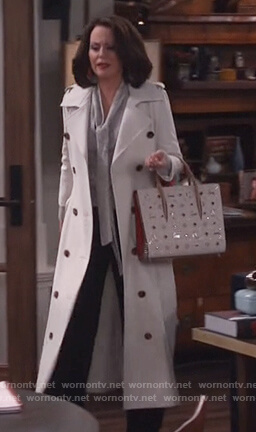 Karen's white double breasted trench coat on Will and Grace