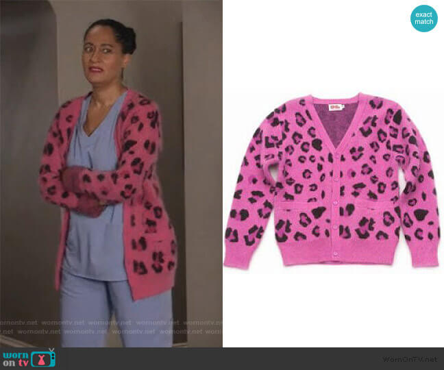 Opening Ceremony Leopard Print Cardigan worn by Rainbow Johnson (Tracee Ellis Ross) on Blackish