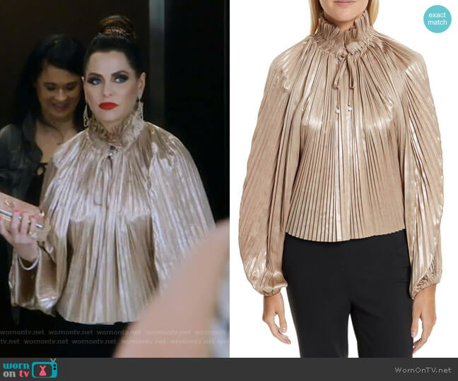 Foil Pleated Top by Opening Ceremony worn by D'Andra Simmons on The Real Housewives of Dallas