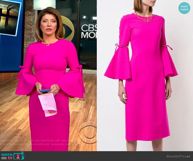 3/4 Flutter Sleeved Pencil Dress by Oscar de la Renta worn by Norah O'Donnell on CBS This Morning