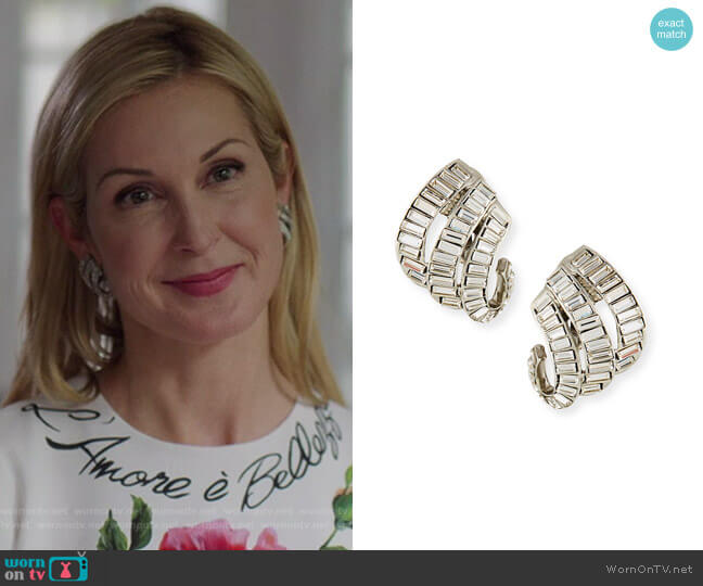 Baroque Baguette Crystal Clip-On Earrings by Oscar de la Renta worn by Melissa Daniels (Kelly Rutherford) on Dynasty