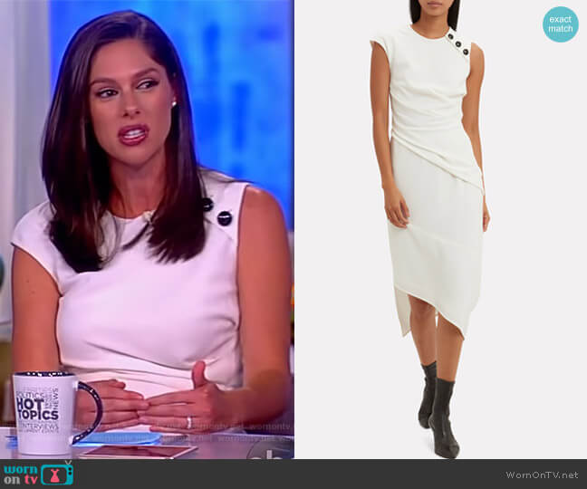 Cap-Sleeve Textured Crepe Asymmetric Midi Dress by Proenza Schouler worn by Abby Huntsman on The View