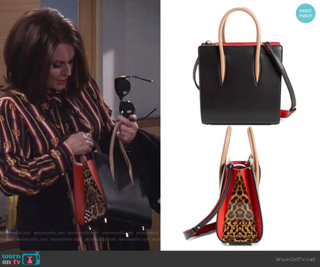 Paloma Calfskin Tote by Christian Louboutin worn by Karen Walker (Megan Mullally) on Will & Grace