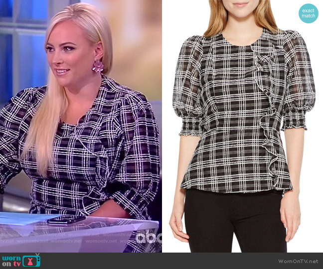 Calli Check Blouse by Parker worn by Meghan McCain  on The View