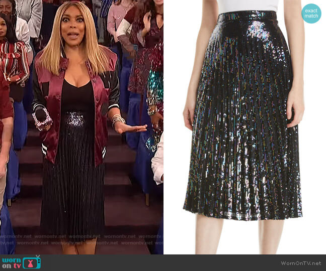Citrine Sequined High-Waist Midi Skirt by Parker worn by Wendy Williams  on The Wendy Williams Show