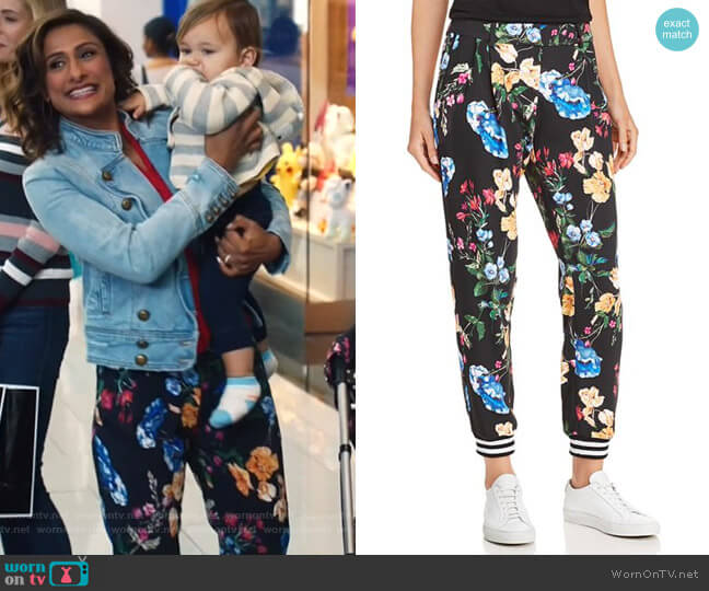 Sotero Floral Pants by Parker worn by Emet Kamala-Sweetzer (Sarayu Blue) on I Feel Bad