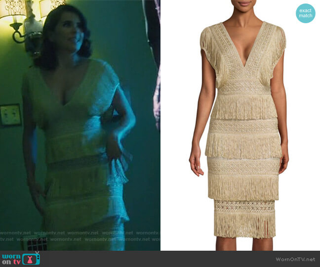 Metallic Fringe Midi Dress by PatBO worn by Laurel Castillo (Karla Souza) on HTGAWM