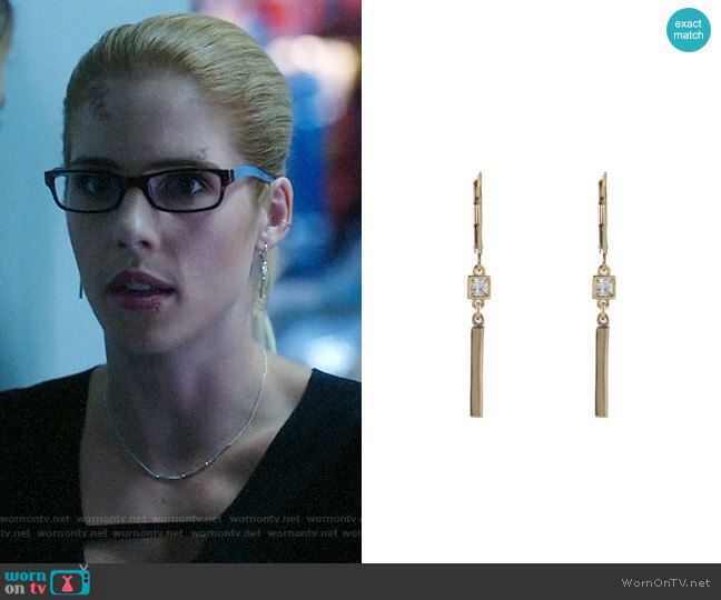 Peggy Li CZ Bar Earrings worn by Emily Bett Rickards on Arrow