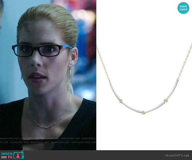 Peggy Li Square Tube Mixed Necklace  worn by Felicity Smoak (Emily Bett Rickards) on Arrow