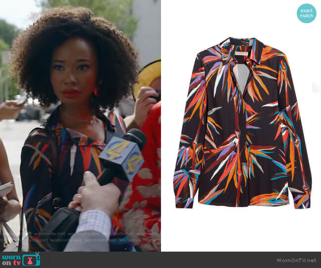 Printed Stretch-Jersey Shirt by Emilio Pucci worn by Monica Colby (Wakeema Hollis) on Dynasty