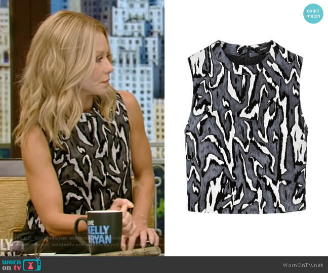 Flock Printed Crop Top by Proenza Schouler worn by Kelly Ripa (Kelly Ripa) on Live with Kelly & Ryan