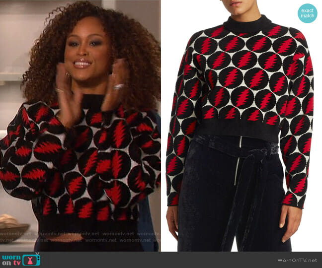 Lightning-Bolt Pullover Sweater by Proenza Schouler worn by Eve  on The Talk