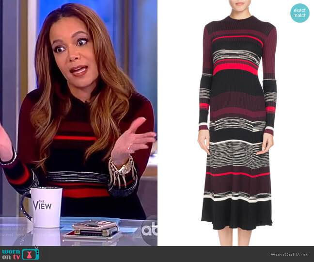 Long-Sleeve Crewneck Striped Ribbed Wool-Blend Dress by Proenza Schouler worn by Sunny Hostin  on The View