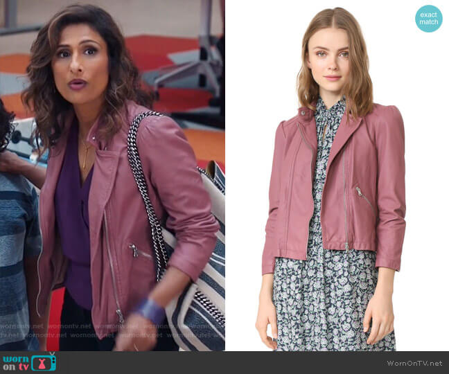 Washed Leather Moto Jacket by Rebecca Taylor worn by Sarayu Blue on I Feel Bad