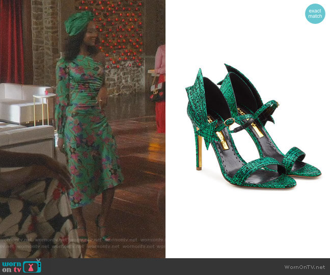 Metallic Tweed Leather Sandals by Rupert Sanderson worn by Monica Colby (Wakeema Hollis) on Dynasty