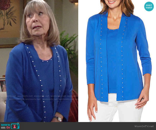 Rafaella Heat Tank and Studded Cardigan worn by Dina Mergeron (Marla Adams) on The Young & the Restless