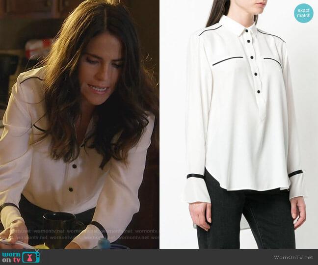 Contrast Detail Buttoned Shirt by Rag & Bone worn by Karla Souza on HTGAWM