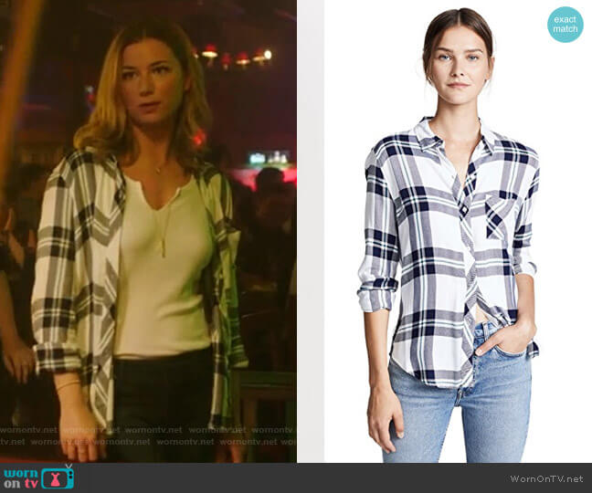 Hunter Shirt in White Navy Forestby Rails worn by Nicolette Nevin (Emily VanCamp) on The Resident