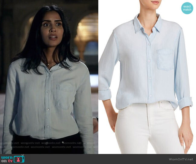 Ingrid Chambray Shirt by Rails worn by Saanvi (Parveen Kaur) on Manifest