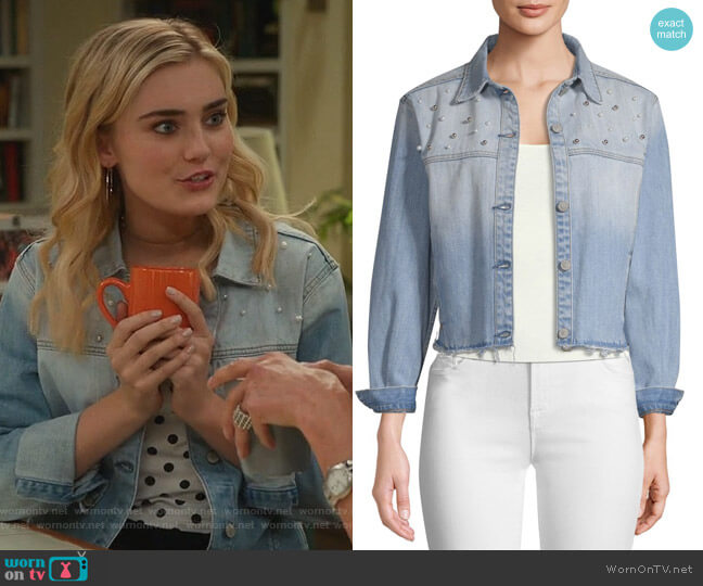 Rylan Embellished Cropped Denim Jacket by Rails worn by Taylor Otto (Meg Donnelly) on American Housewife