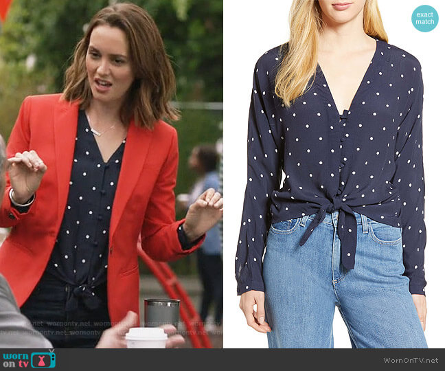 Sloane Tie Front Top by Rails worn by Angie (Leighton Meester) on Single Parents