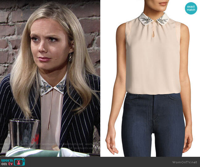 Rebecca Taylor Bird-Embellished Collar Silk Top worn by Abby Newman (Melissa Ordway) on The Young & the Restless