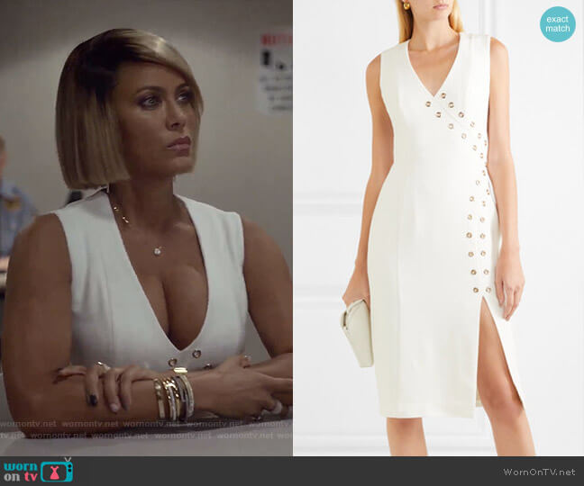 Adriatic Eyelet-Embellished Crepe Midi Dress by Rebecca Vallance worn by Giselle (Nicole Ari Parker) on Empire