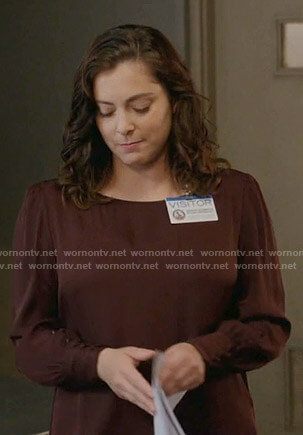 Rebecca's brown buttoned sleeve blouse on Crazy Ex-Girlfriend
