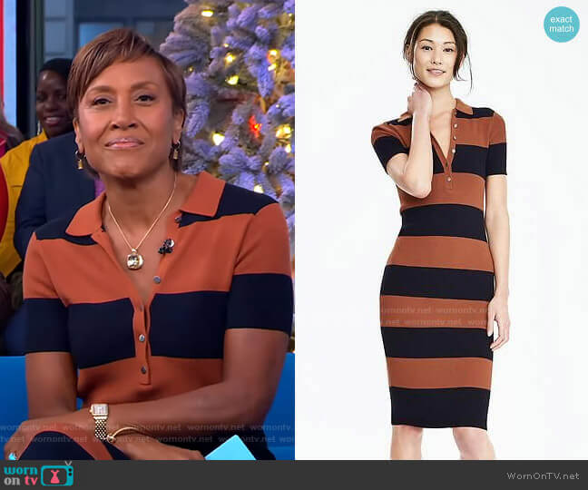 Ribbed Polo Sweater Dress by Banana Republic worn by Robin Roberts  on Good Morning America