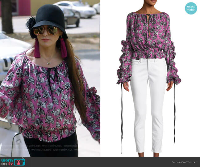 Orchid-Print Ruffle Long-Sleeve Silk Blouse by Robert Rodriguez worn by D'Andra Simmons (D'Andra Simmons) on The Real Housewives of Dallas