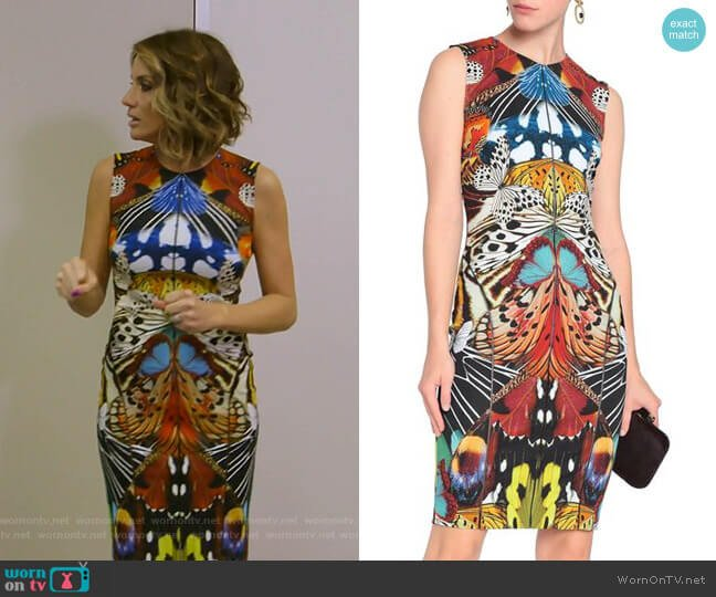 Printed Stretch-Knit Dress by Roberto Cavalli worn by Cary Deuber on The Real Housewives of Dallas