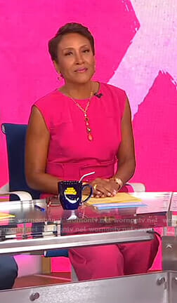 Robin's pink tie waist jumpsuit on Good Morning America