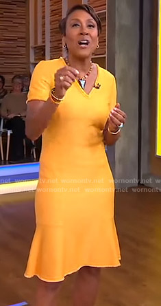 Robin's orange v-neck knit dress on Good Morning America