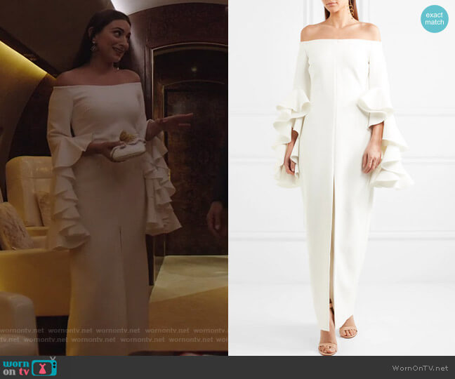Ruffled Crepe Gown by Ellery worn by Cristal Jennings (Daniella Alonso) on Dynasty
