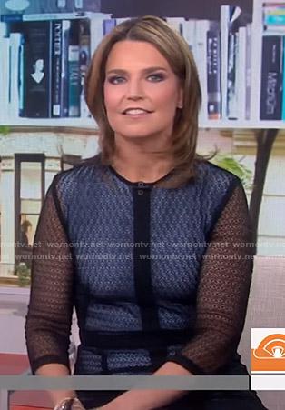 Savannah's black patterned mesh midi dress on Today