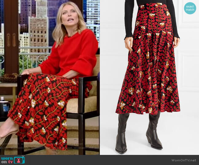 Printed Midi Skirt by Sonia Rykiel worn by Kelly Ripa  on Live with Kelly & Ryan