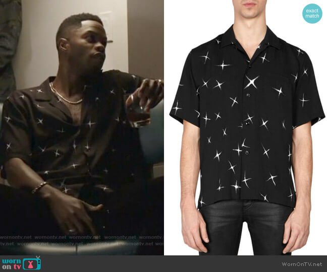 Electric Star Button-Down Shirt by Saint Laurent worn by Jeff Colby (Sam Adegoke) on Dynasty