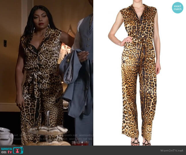 Leopard Silk Satin Jumpsuit by Saint Laurent worn by Cookie Lyon (Taraji P. Henson) on Empire