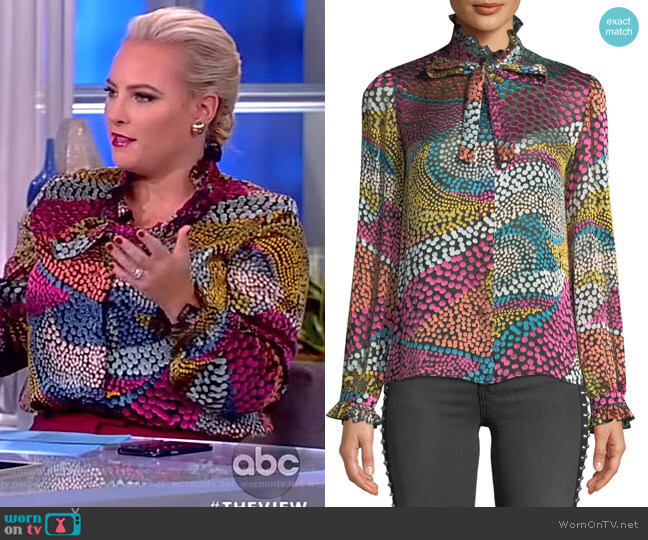 Emile Silk-Blend Dotted Blouse by Saloni worn by Meghan McCain (Meghan McCain) on The View