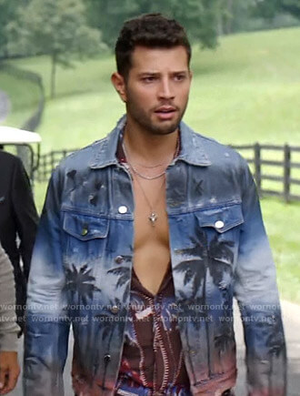 Sam's palm tree print denim jacket on Dynasty