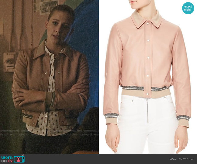 Sandro Biopic Collared Bomber Jacket  worn by Lili Reinhart on Riverdale